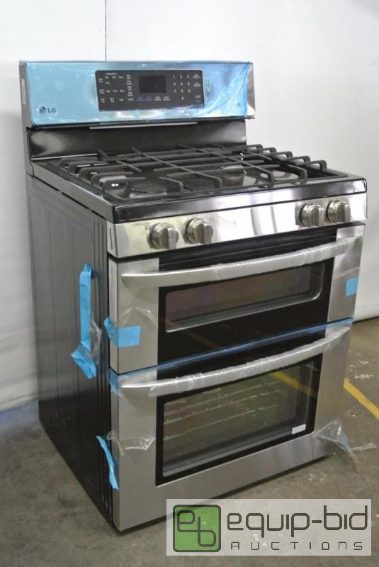 lg residential double oven and gas range dtkc new and used appliance and furniture auction equipbid - Double Oven Gas Range