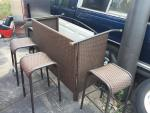 New outdoor patio bar with four stools top wa...