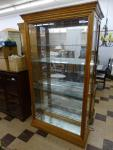 Beautiful Oak lighted curio cabinet with side...
